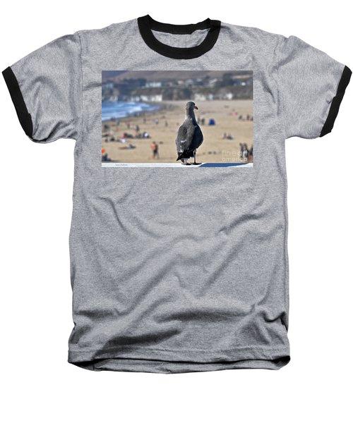 Gull Watching Beach Visitors Baseball T-Shirt by Susan Wiedmann