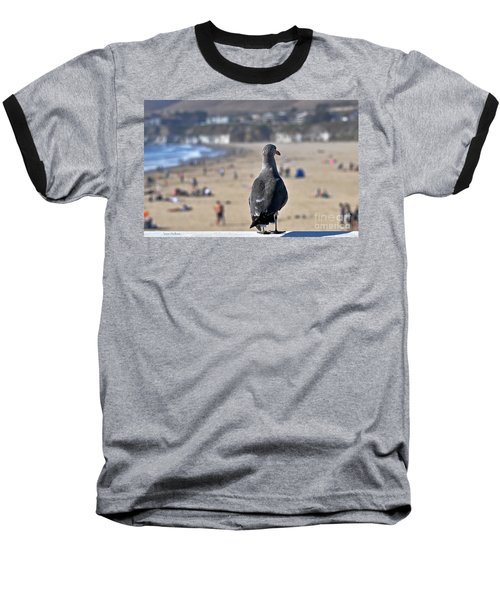 Gull Watching Beach Visitors Baseball T-Shirt