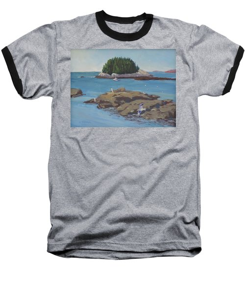Gulls At Five Islands - Art By Bill Tomsa Baseball T-Shirt