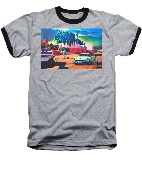 Baseball T-Shirt featuring the painting Guys Dolls And Pink Adobe by Art James West