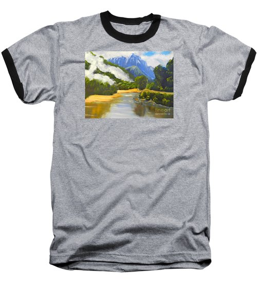 Baseball T-Shirt featuring the painting Haast River New Zealand by Pamela  Meredith