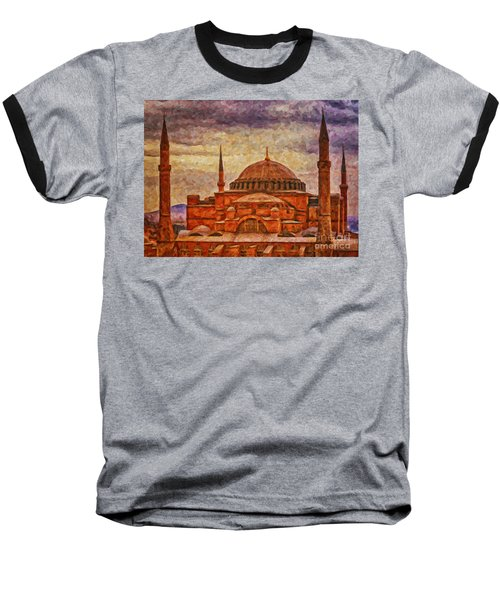Hagia Sophia Digital Painting Baseball T-Shirt