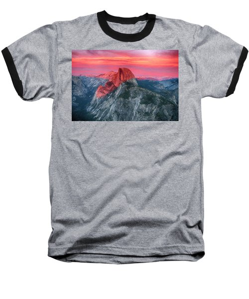 Half Dome Sunset From Glacier Point Baseball T-Shirt by John Haldane