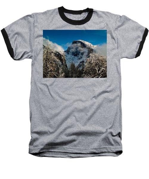 Half Dome Winter Baseball T-Shirt by Bill Gallagher