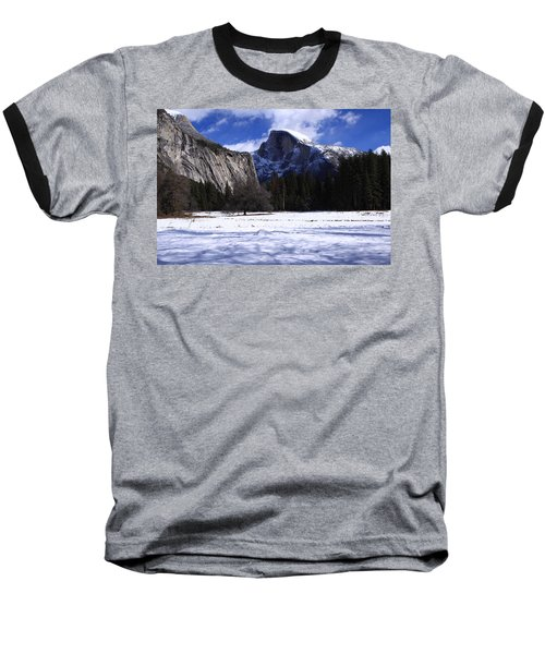 Half Dome Winter Snow Baseball T-Shirt