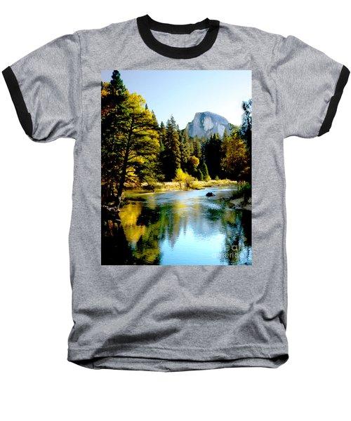 Half Dome Yosemite River Valley Baseball T-Shirt by Bob and Nadine Johnston