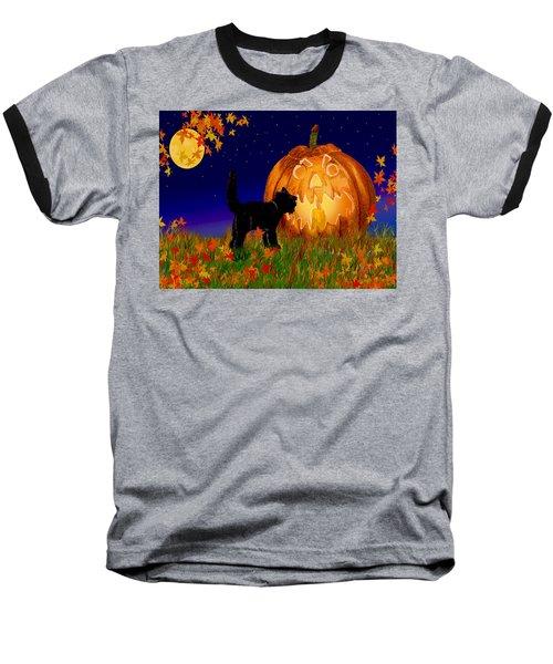 Halloween Black Cat Meets The Giant Pumpkin Baseball T-Shirt