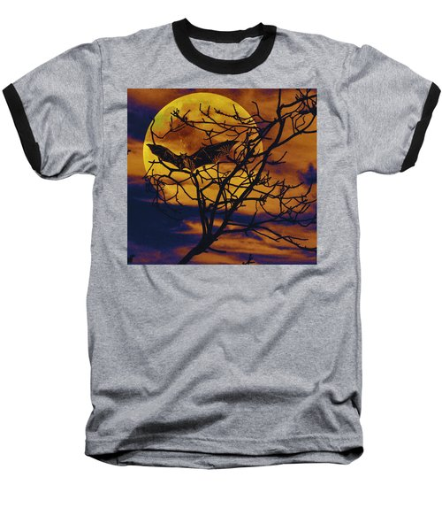 Halloween Full Moon Terror Baseball T-Shirt by David Mckinney