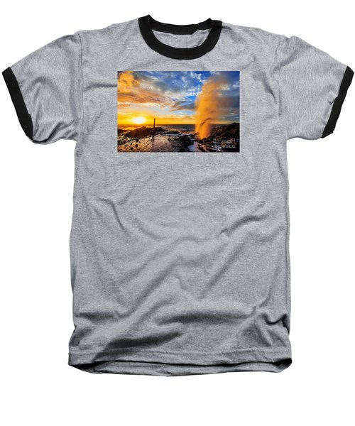 Baseball T-Shirt featuring the photograph Halona Blowhole At Sunrise by Aloha Art