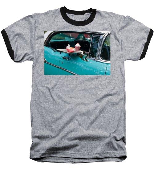 Baseball T-Shirt featuring the photograph Hamburger Drive In Classic Car by Gunter Nezhoda