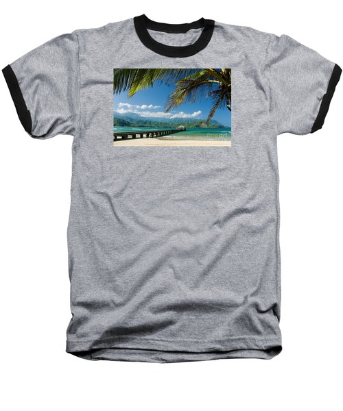 Hanalei Pier And Beach Baseball T-Shirt by M Swiet Productions