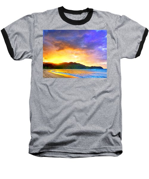 Hanalei Sunset Baseball T-Shirt by Dominic Piperata