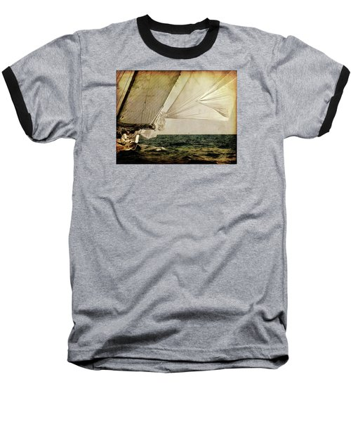Baseball T-Shirt featuring the photograph Hanged On Wind In A Mediterranean Vintage Tall Ship Race  by Pedro Cardona