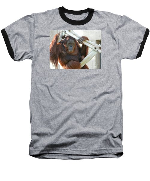 Baseball T-Shirt featuring the photograph Hanging Out - Melati The Orangutan by Emmy Marie Vickers
