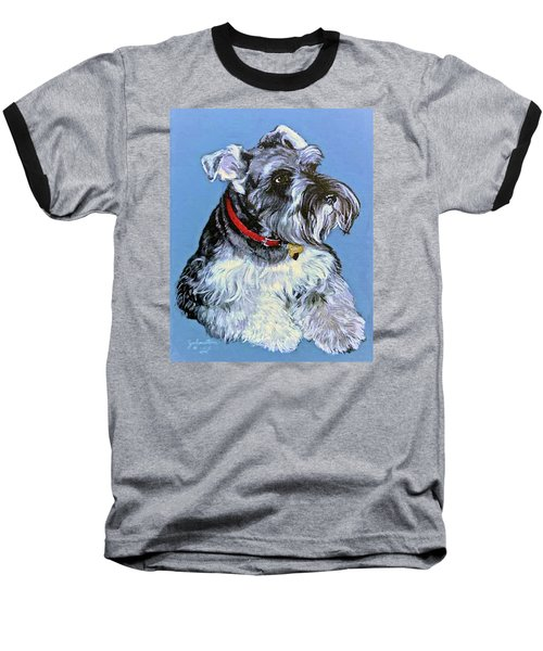 Baseball T-Shirt featuring the painting Hans The Schnauzer Original Painting Forsale by Bob and Nadine Johnston