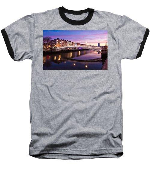 Hapenny Bridge At Dawn - Dublin Baseball T-Shirt