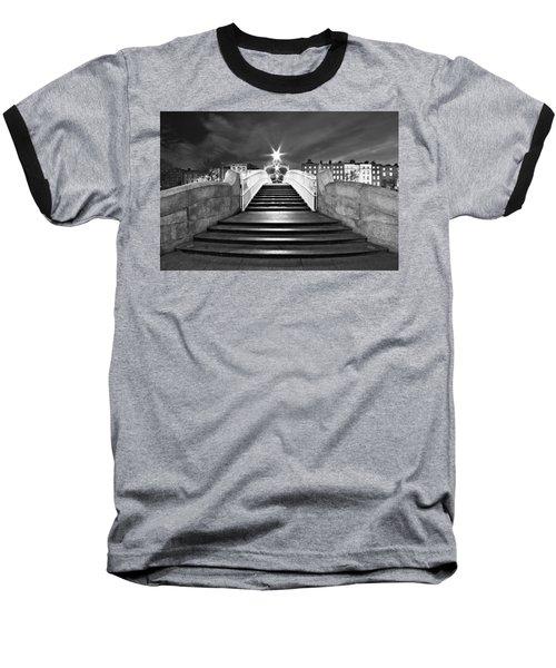 Ha'penny Bridge Steps At Night - Dublin - Black And White Baseball T-Shirt