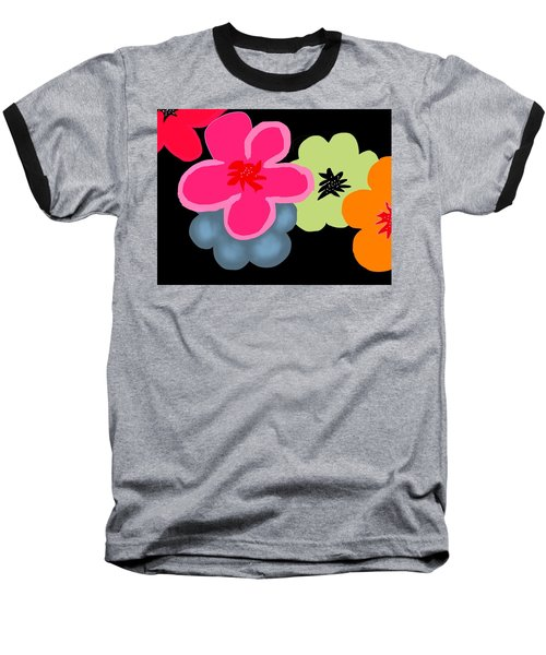 Baseball T-Shirt featuring the digital art Happy Flowers Pink by Christine Fournier