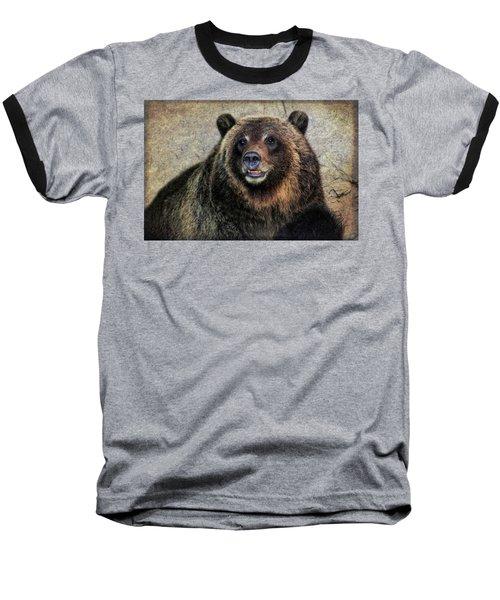 Happy Grizzly Bear Baseball T-Shirt