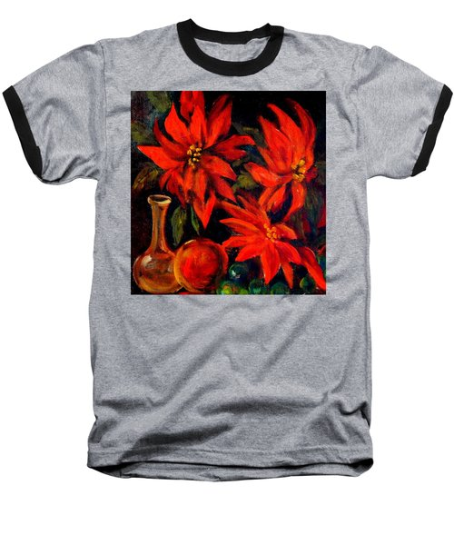 New Orleans Red Poinsettia Oil Painting Baseball T-Shirt