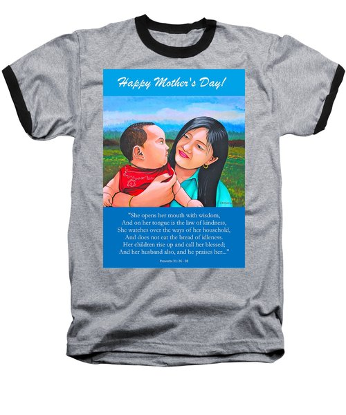 Baseball T-Shirt featuring the mixed media Happy Mom And Babe by Cyril Maza