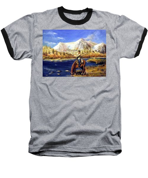 Baseball T-Shirt featuring the painting Happy Trails by Bernadette Krupa
