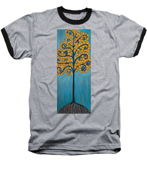 Happy Tree In Blue And Gold Baseball T-Shirt