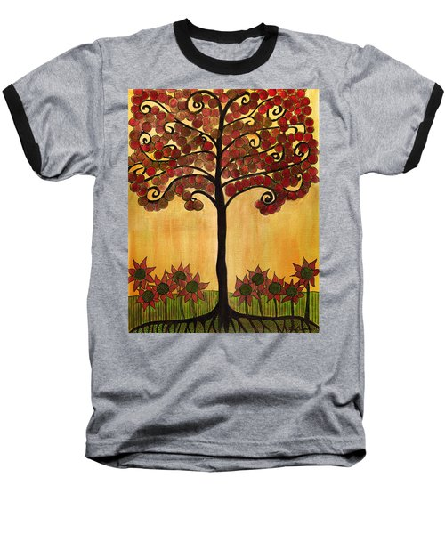 Happy Tree In Red Baseball T-Shirt
