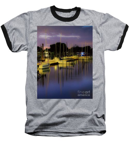 Harbor At Night Baseball T-Shirt