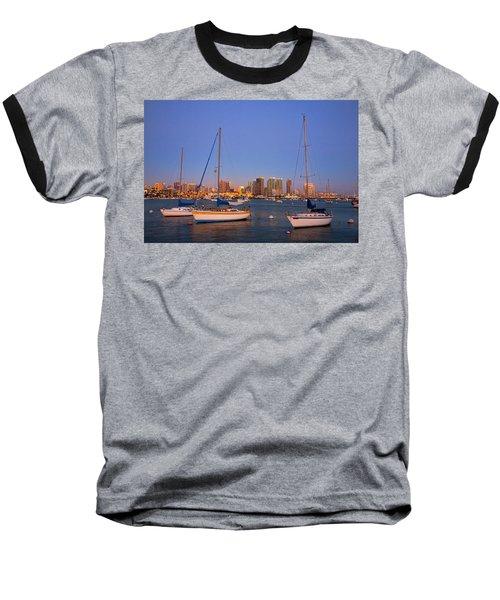 Harbor Sailboats Baseball T-Shirt