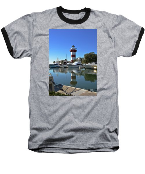 Harbor Town Lighthouse Baseball T-Shirt by Carol  Bradley
