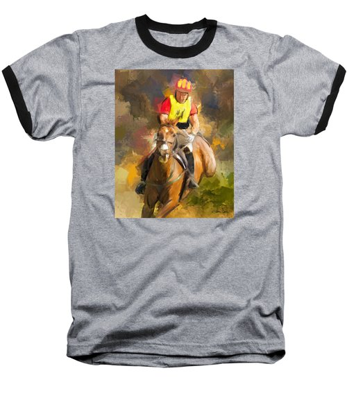 Baseball T-Shirt featuring the painting Hard Left by Joan Davis