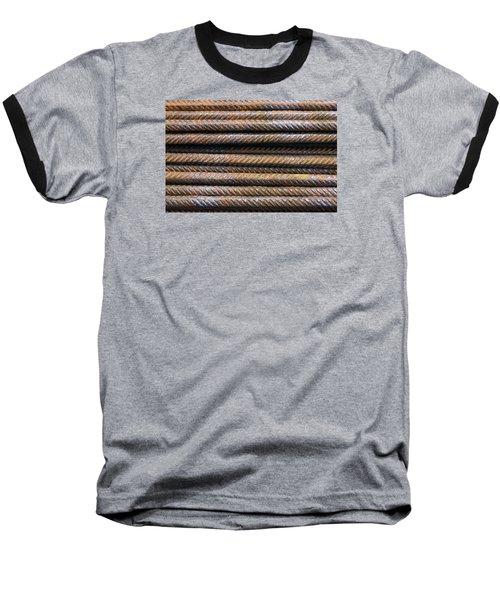 Hard Metal Rebar Pattern Baseball T-Shirt