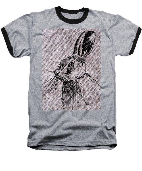 Hare On Burlap Baseball T-Shirt