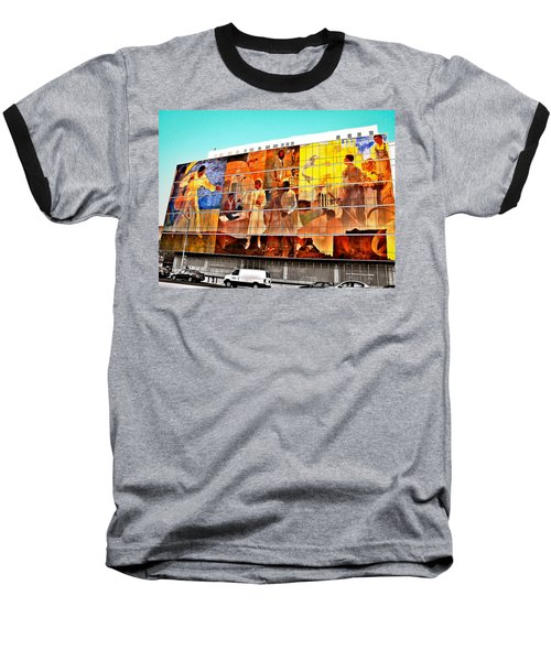 Harlem Hospital Mural Baseball T-Shirt by Terry Wallace