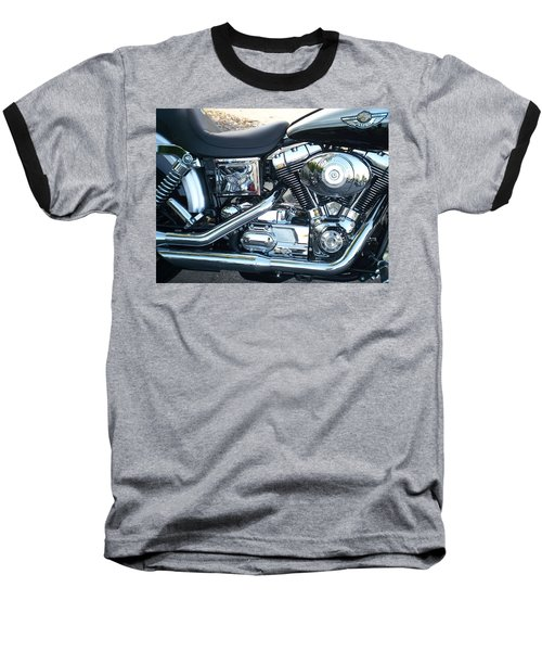 Harley Black And Silver Sideview Baseball T-Shirt