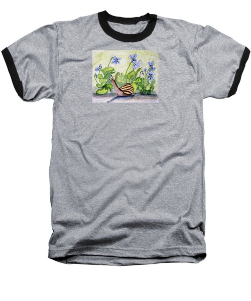 Baseball T-Shirt featuring the painting Harold In The Violets by Angela Davies