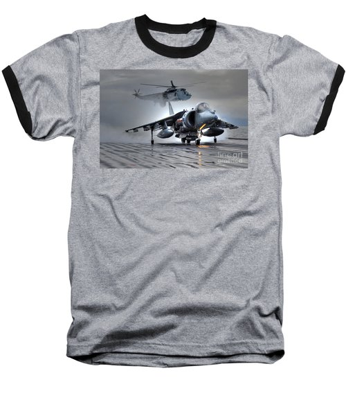 Harrier Gr9 Takes Off From Hms Ark Royal For The Very Last Time Baseball T-Shirt by Paul Fearn
