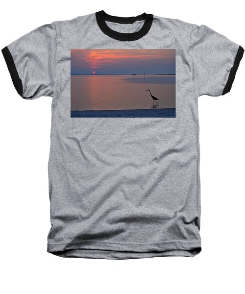 Baseball T-Shirt featuring the photograph Harry The Heron Fishing On Santa Rosa Sound At Sunrise by Jeff at JSJ Photography