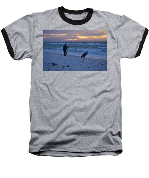 Harry The Heron Fishing With Fisherman On Navarre Beach At Sunrise Baseball T-Shirt by Jeff at JSJ Photography