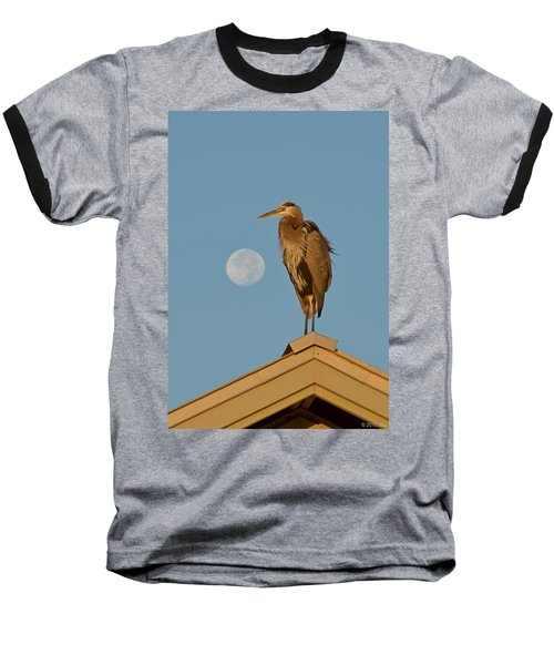 Harry The Heron Ponders A Trip To The Full Moon Baseball T-Shirt by Jeff at JSJ Photography