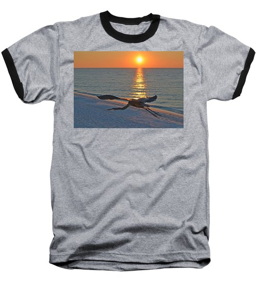 Harry The Heron Takes Flight To Reposition His Guard Over Navarre Beach At Sunrise Baseball T-Shirt by Jeff at JSJ Photography