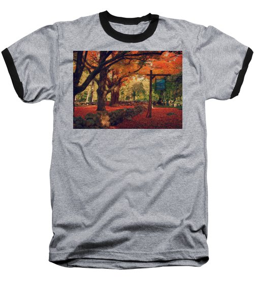Baseball T-Shirt featuring the photograph Hartwell Tavern Under Orange Fall Foliage by Jeff Folger