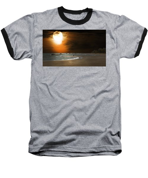 Harvest Moon On The Beach Baseball T-Shirt