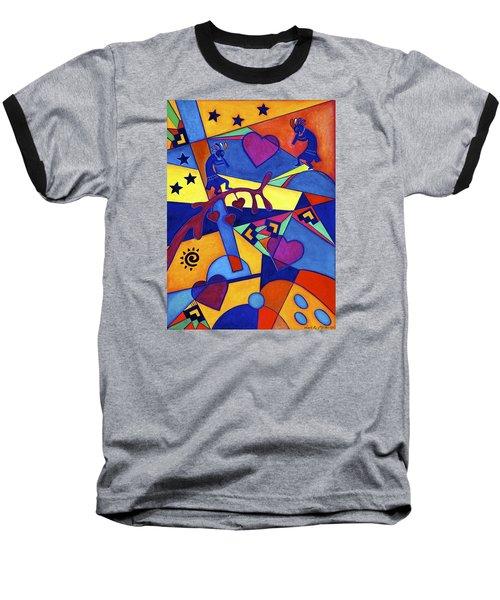 Baseball T-Shirt featuring the painting Harvesting The Love Kokopelli Art  by Lori Miller