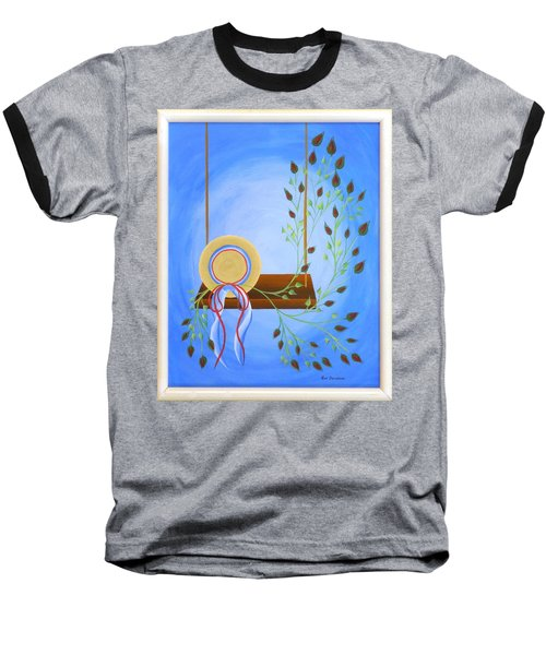 Hat On A Swing Baseball T-Shirt by Ron Davidson