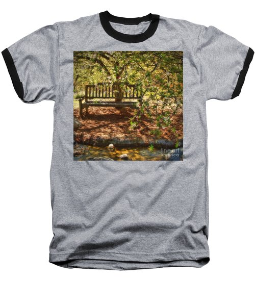 Baseball T-Shirt featuring the photograph Have A Seat by Peggy Hughes