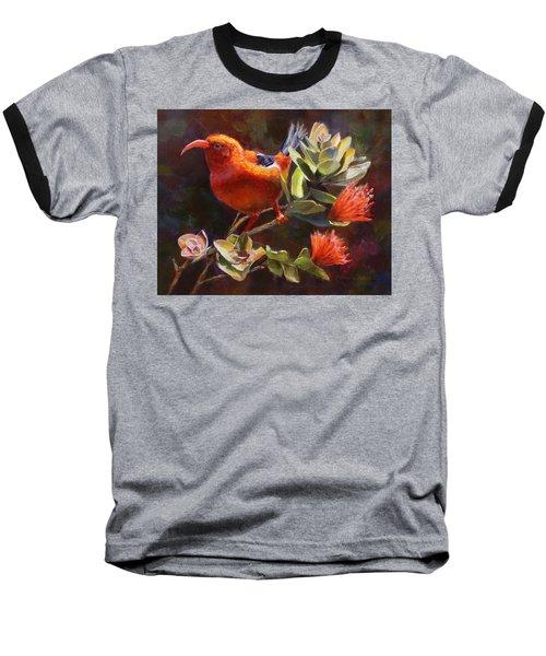 Hawaiian IIwi Bird And Ohia Lehua Flower Baseball T-Shirt