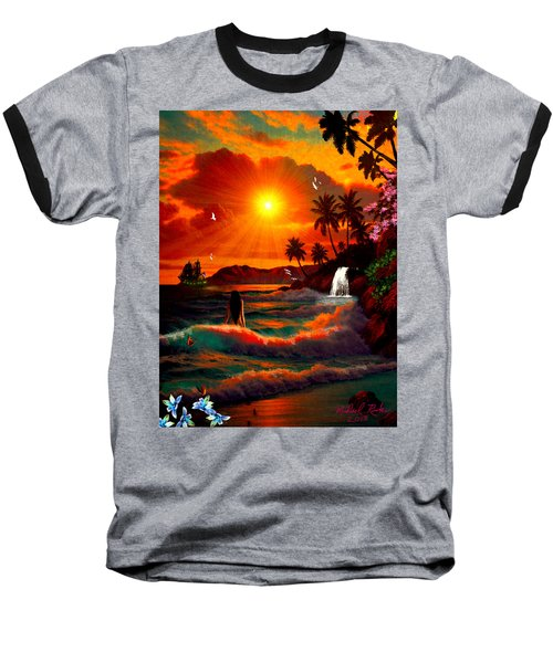 Baseball T-Shirt featuring the digital art Hawaiian Islands by Michael Rucker
