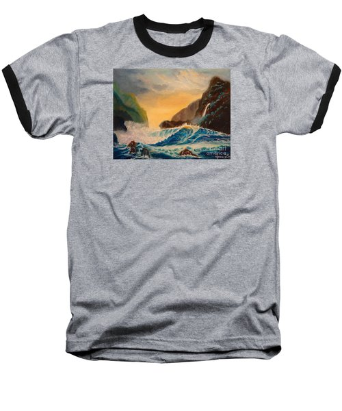 Baseball T-Shirt featuring the painting Hawaiian Turquoise Sunset   Copyright by Jenny Lee